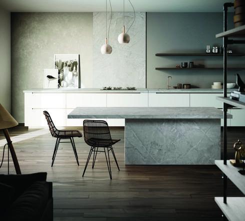 משטחי עבודה למטבח וחיפויי קירות Dekton דגם Vera במראה בטון, מסדרת Natural . קוסנטינו